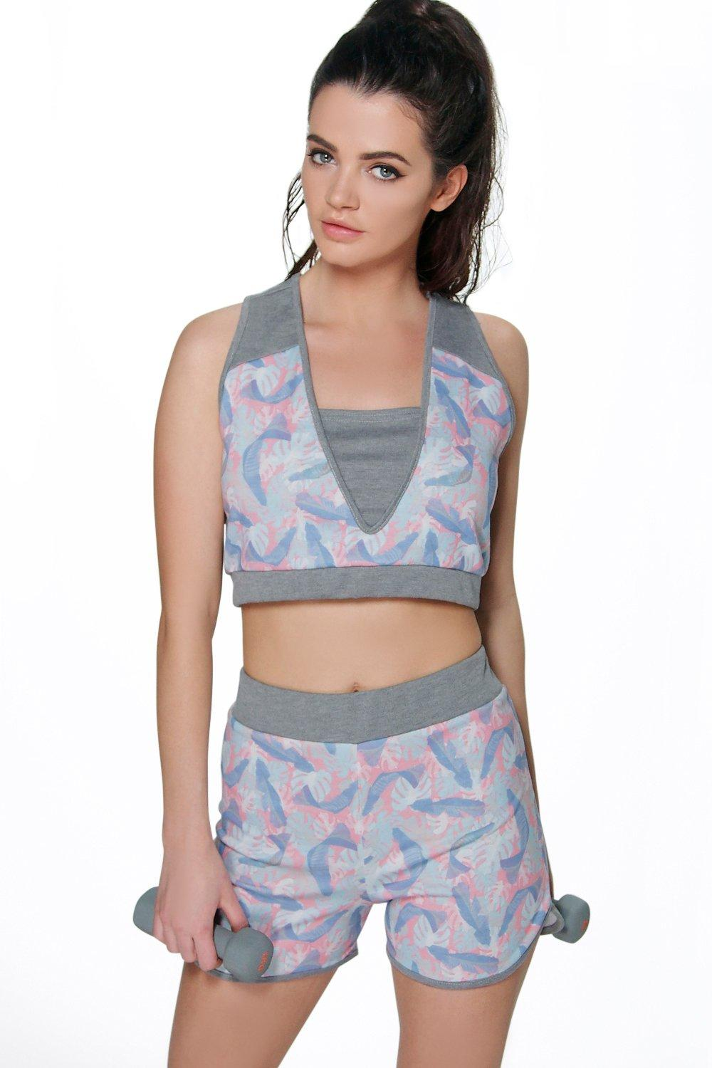Kara Fit Leaf Print Sports Crop