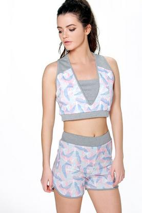 Mya Fit Leaf Print Runner Shorts