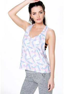 Sarah Fit Leaf Print Muscle Back Vest