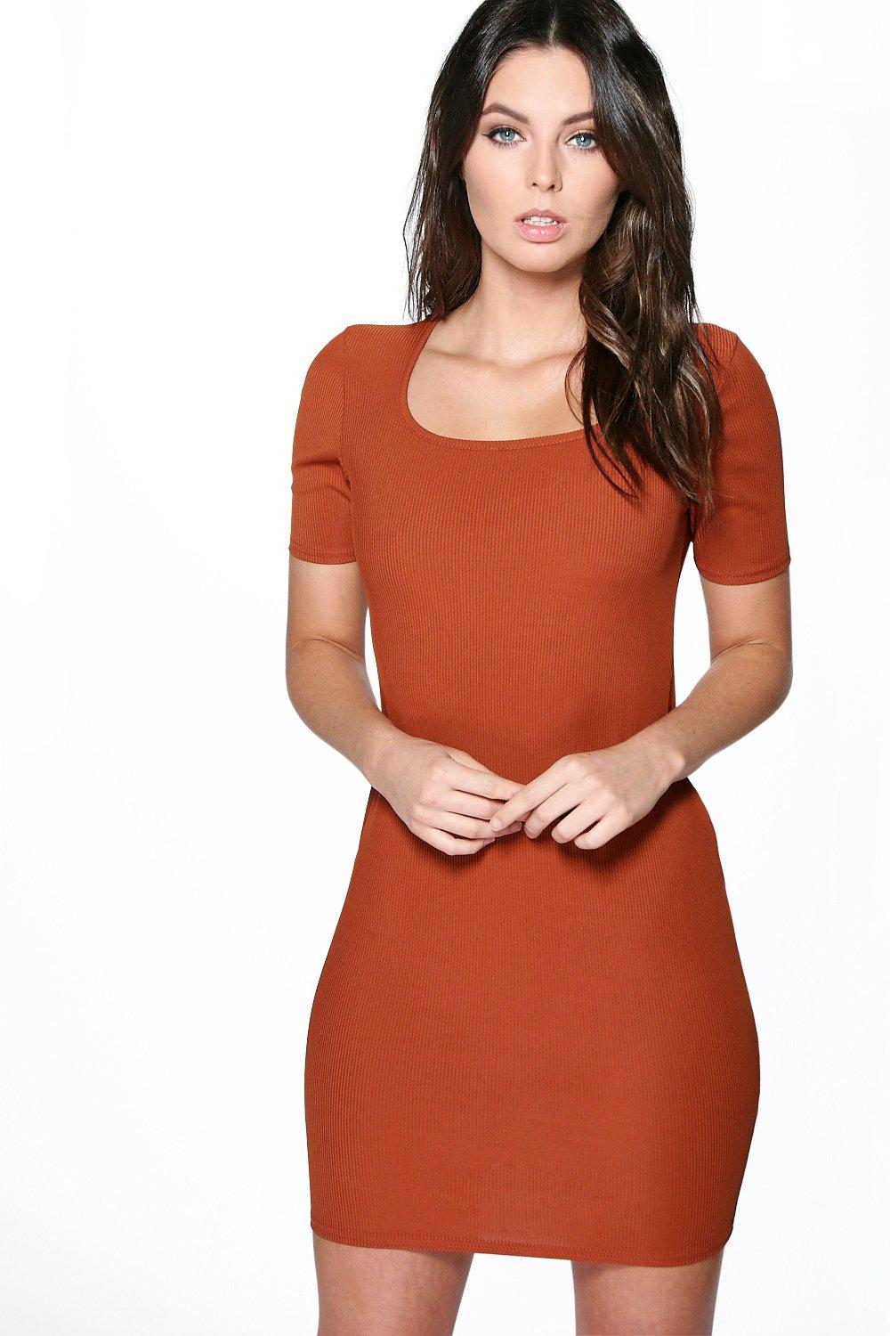 Allie Ribbed Square Neck Bodycon Dress