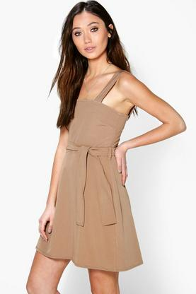 Anya Square Neck Tie Waist Pinafore Dress