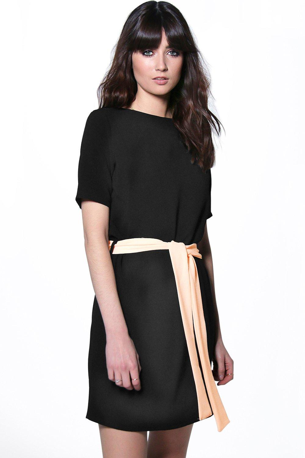 Cassie Tie Waist Woven Shift Dress