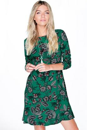 Lisa Printed Long Sleeve Swing Dress