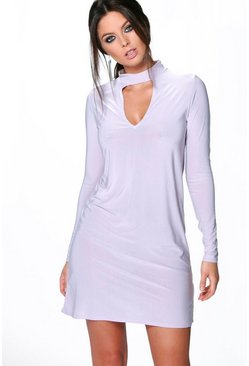 Phoebe Long Sleeve High Neck Cut Out Dress