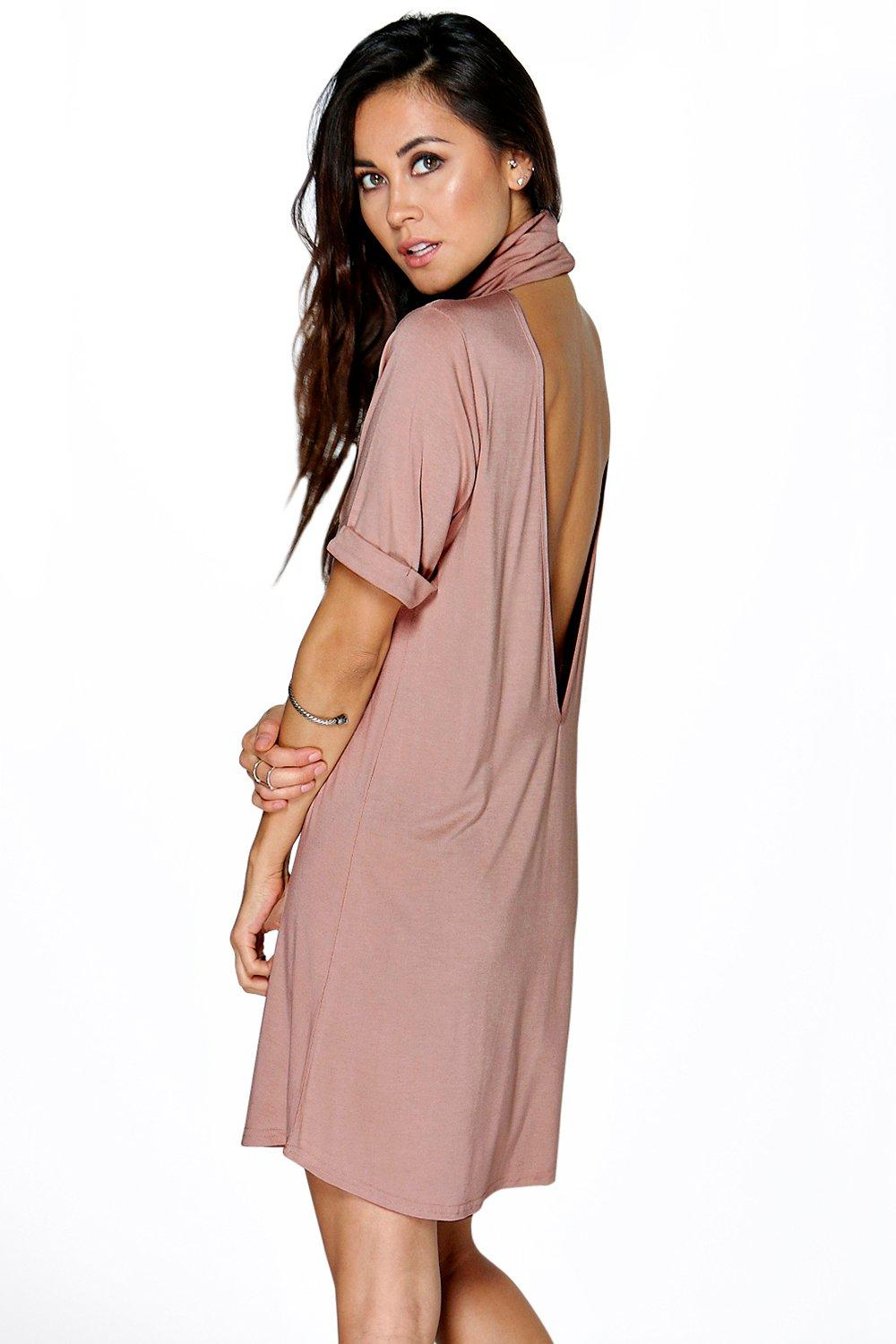 Cara Roll Neck Cut Out Back Shift Dress