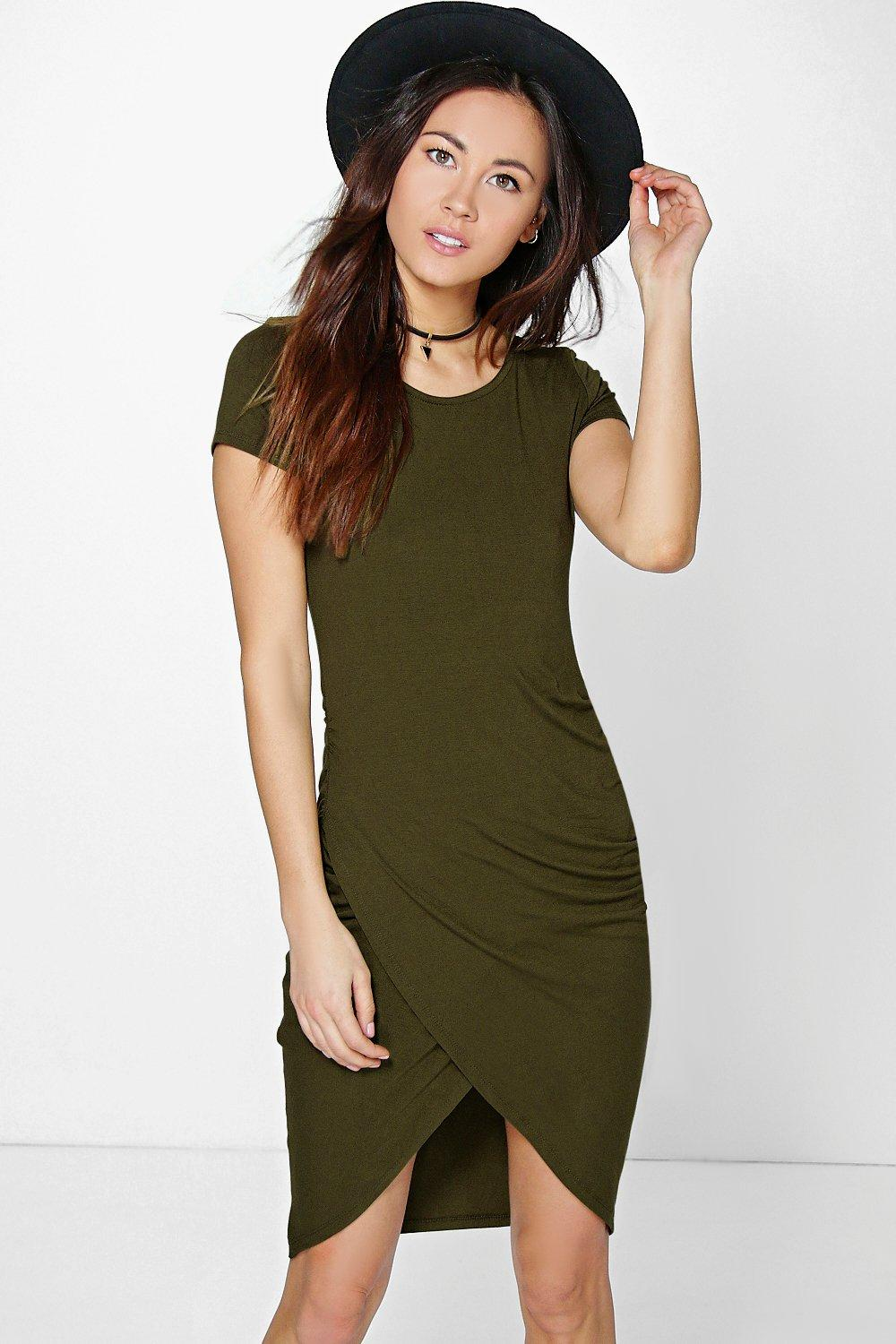 Daisy Drape Wrap Mini Bodycon Dress