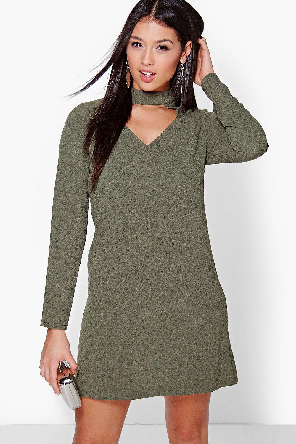 Penelope Choker Plunge Shift Dress