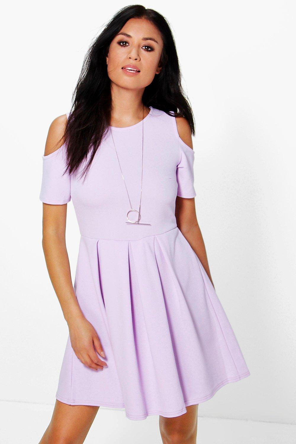 Anna Textured Open Shoulder Skater Dress