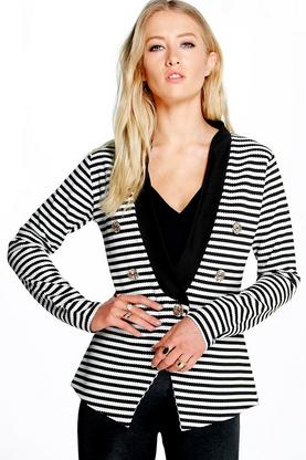 Sarah Nautical Button Front Stripe Blazer