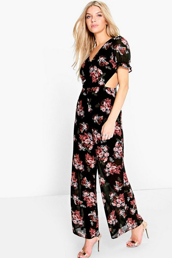 Sophia Bohemian Floral Cut Side Jumpsuit