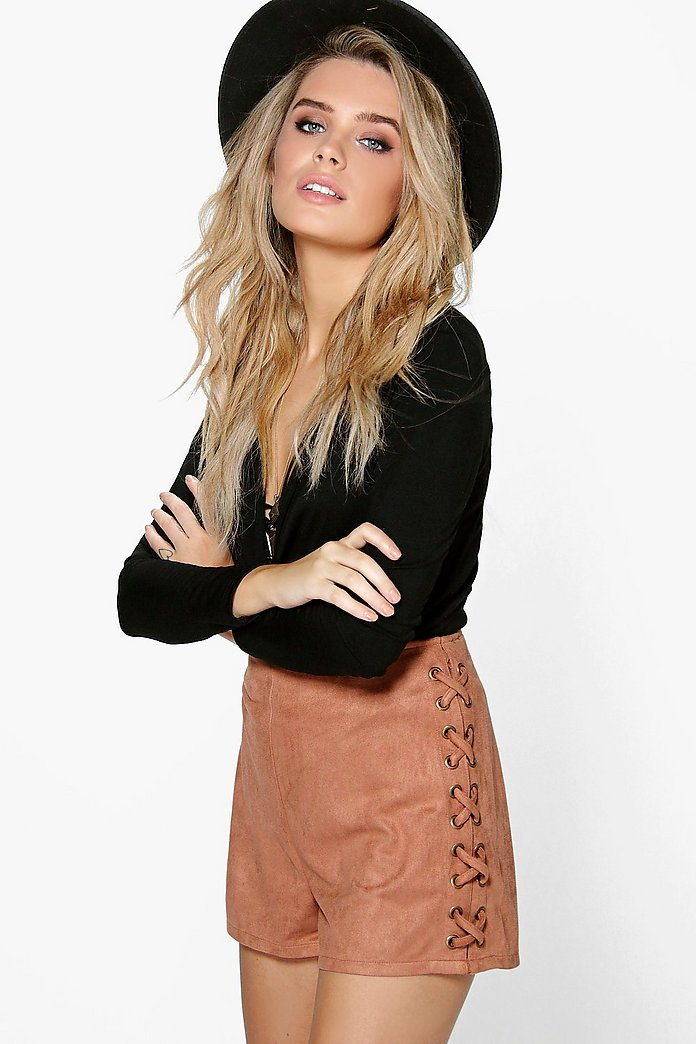 Aria Lace Up Side Faux Suede Shorts