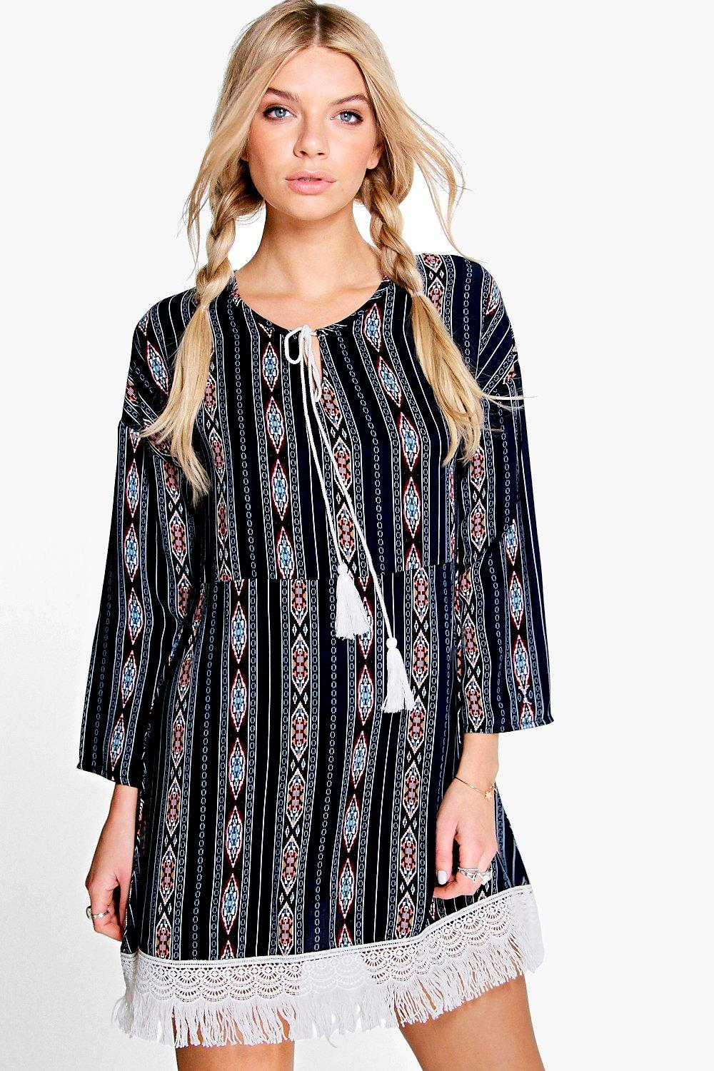 Lia Printed Tassel Woven Smock Dress