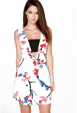 Daisy Floral Crepe Low V Neck Dress