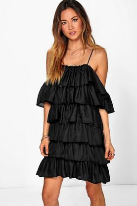 Rosie Ruffle Cold Shoulder Strappy Dress