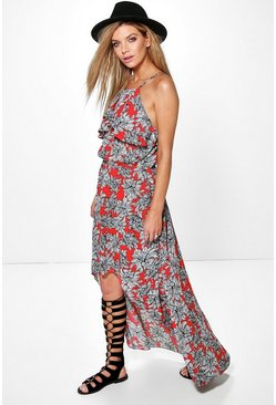 Sophie Dip Back Ruffle Neck Woven Maxi Dress
