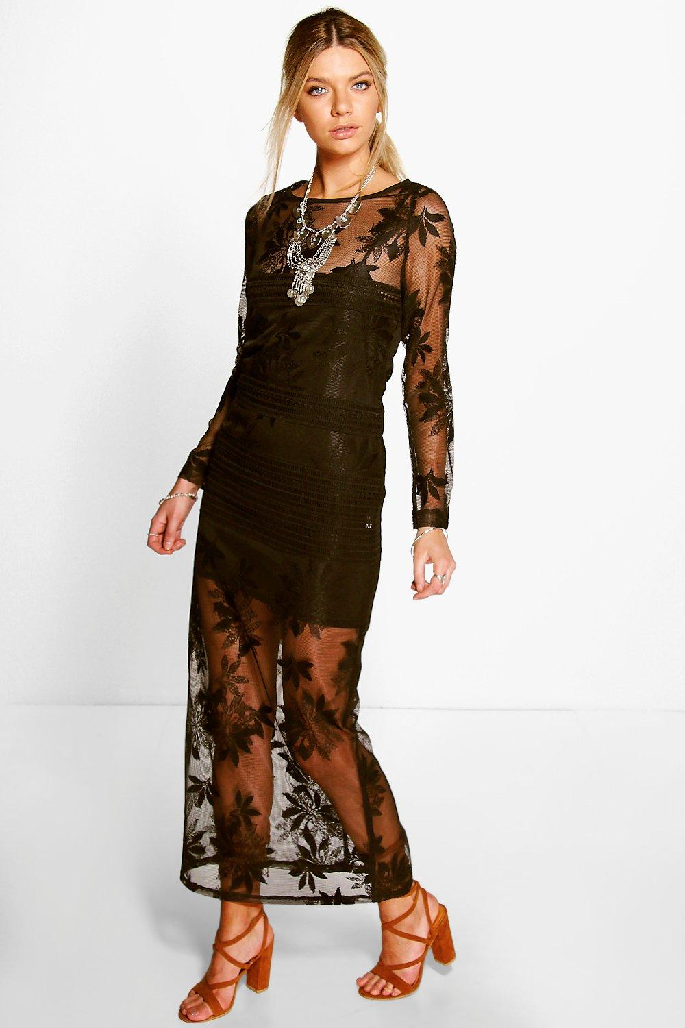 Boutique Maya Lace Barely There Maxi Dress