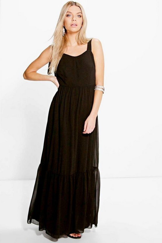 Wide Tie Straps Ruffle Hem Maxi Dress