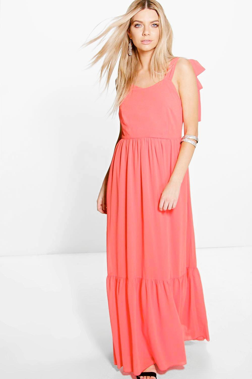 Sarah Wide Tie Straps Ruffle Hem Maxi Dress