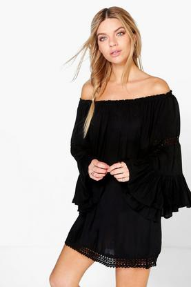 Debbie Wide Sleeve Crochet Trim Bardot Dress