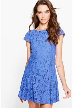 Boutique Sia Lace Godet Skirt Lace Up Back Dress