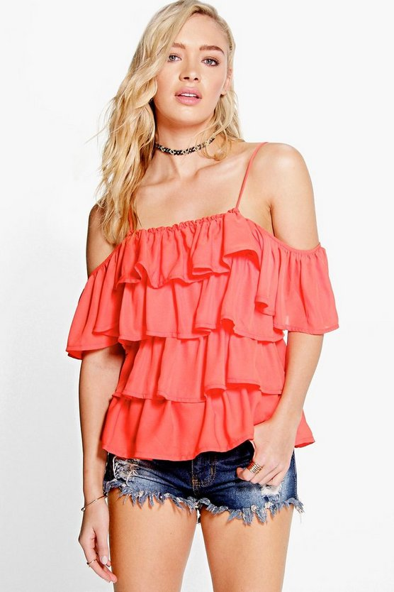 Ellie Ruffle Strappy Cold Shoulder