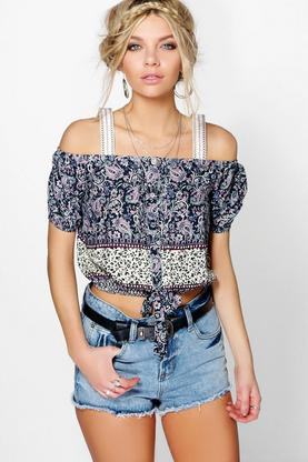 Eliza Tie Front Paisley Print Open Shoulder Top