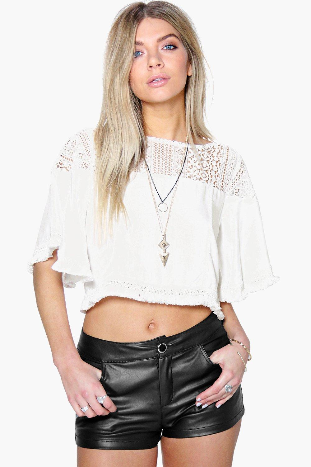 Rosie Crochet Lace Tassel Crop Top