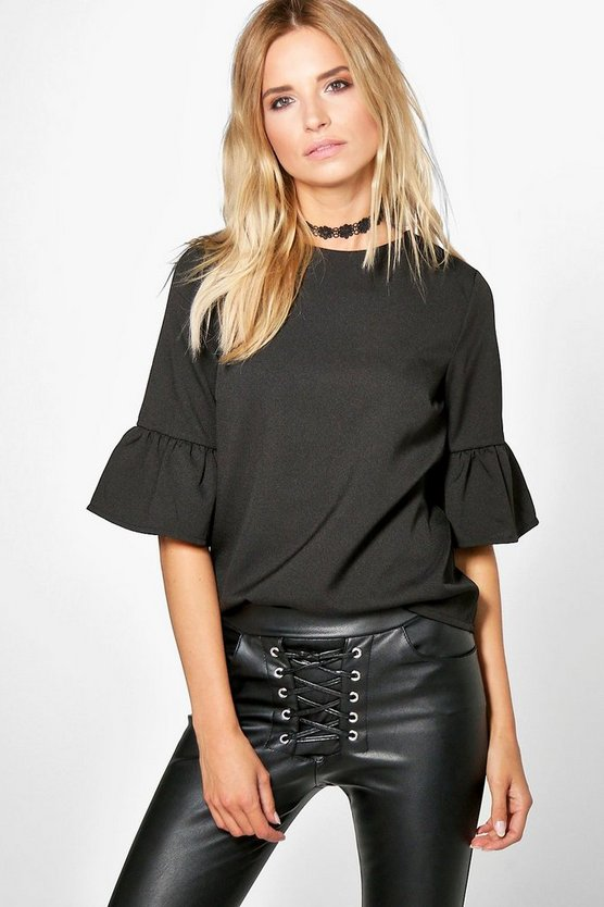 Sally Frill Sleeve Woven Shell Top