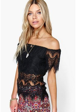 Sarah Eyelash Lace Off The Shoulder Top