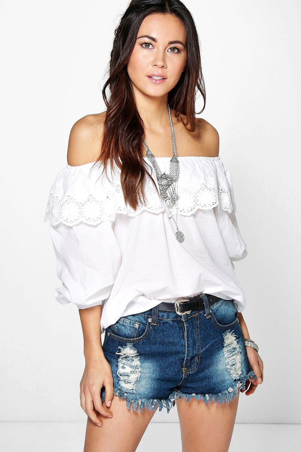 Amy Cotton Embroidered Off The Shoulder Top