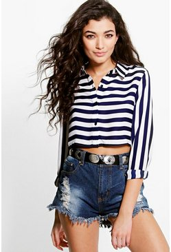 Leah Striped Crop Shirt