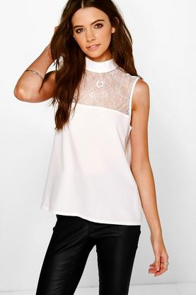 Freya Sleeveless Lace Panel Blouse