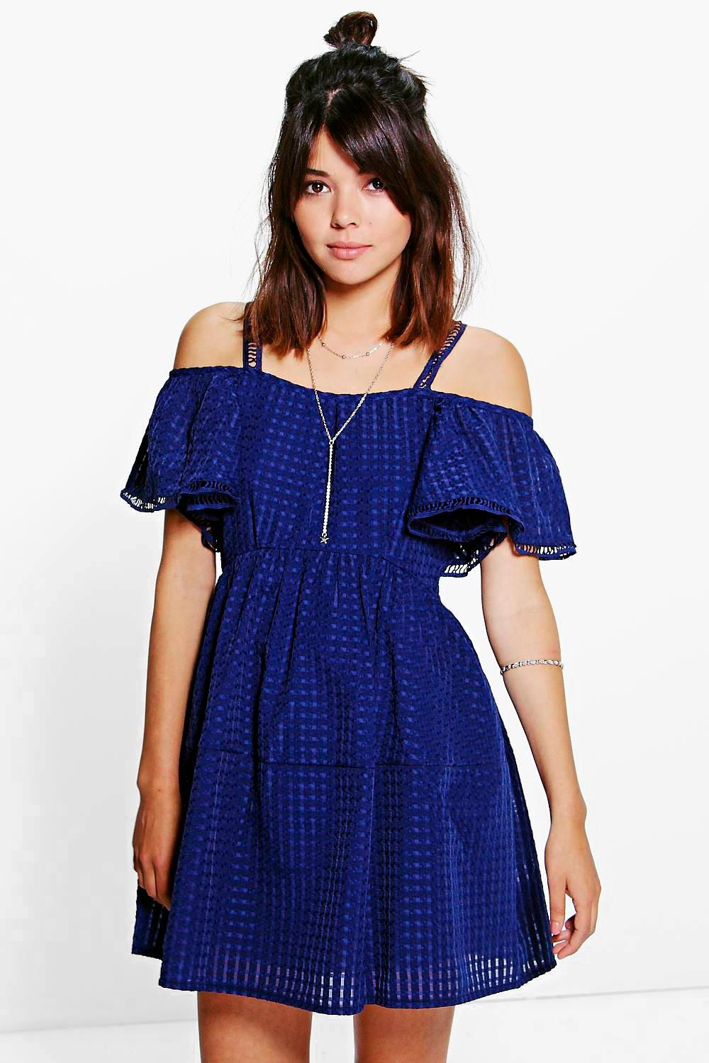 Rosie Woven Mesh Frill Sleeve Skater Dress
