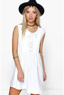 Willow Lace Front Woven Smock Dress