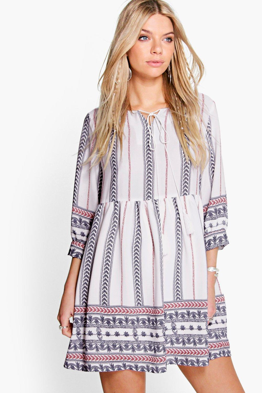 Erin Printed Tassel Woven Smock Dress