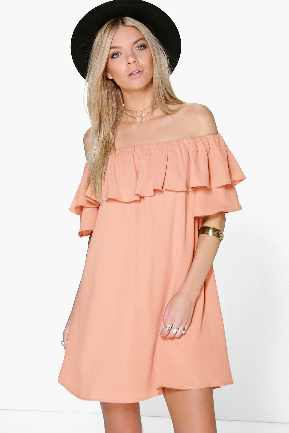 Sophie Ruffle Off Shoulder Woven Dress