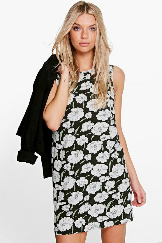 Ava Floral Print Woven Sleeveless Shift Dress