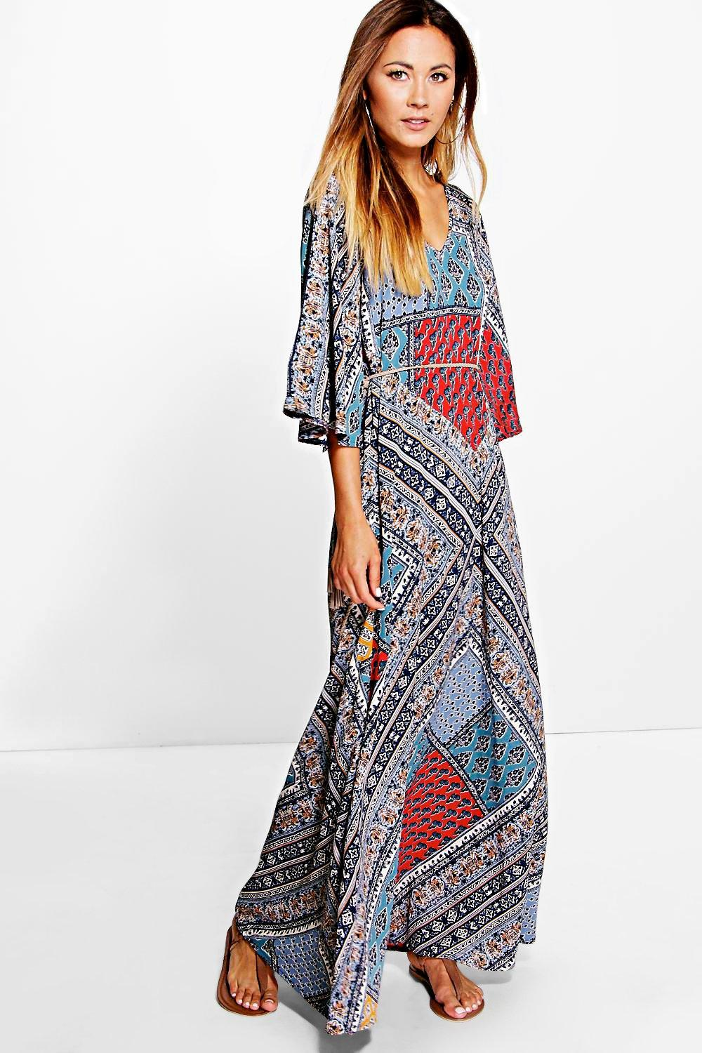 Zaida Patchwork Print Woven Maxi Dress