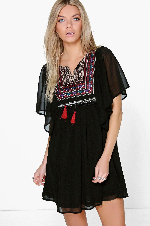 Embroidered Smock Dress black