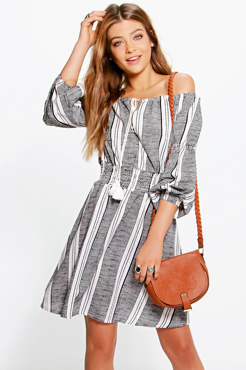 Sesana Off The Shoulder Striped Woven Dress