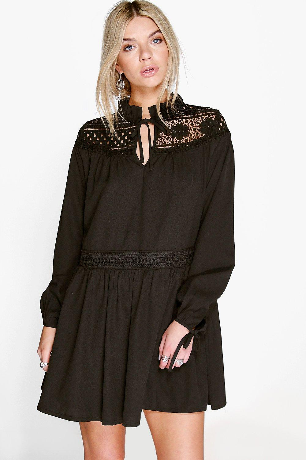 Clara Corded Lace Insert Smock Dress