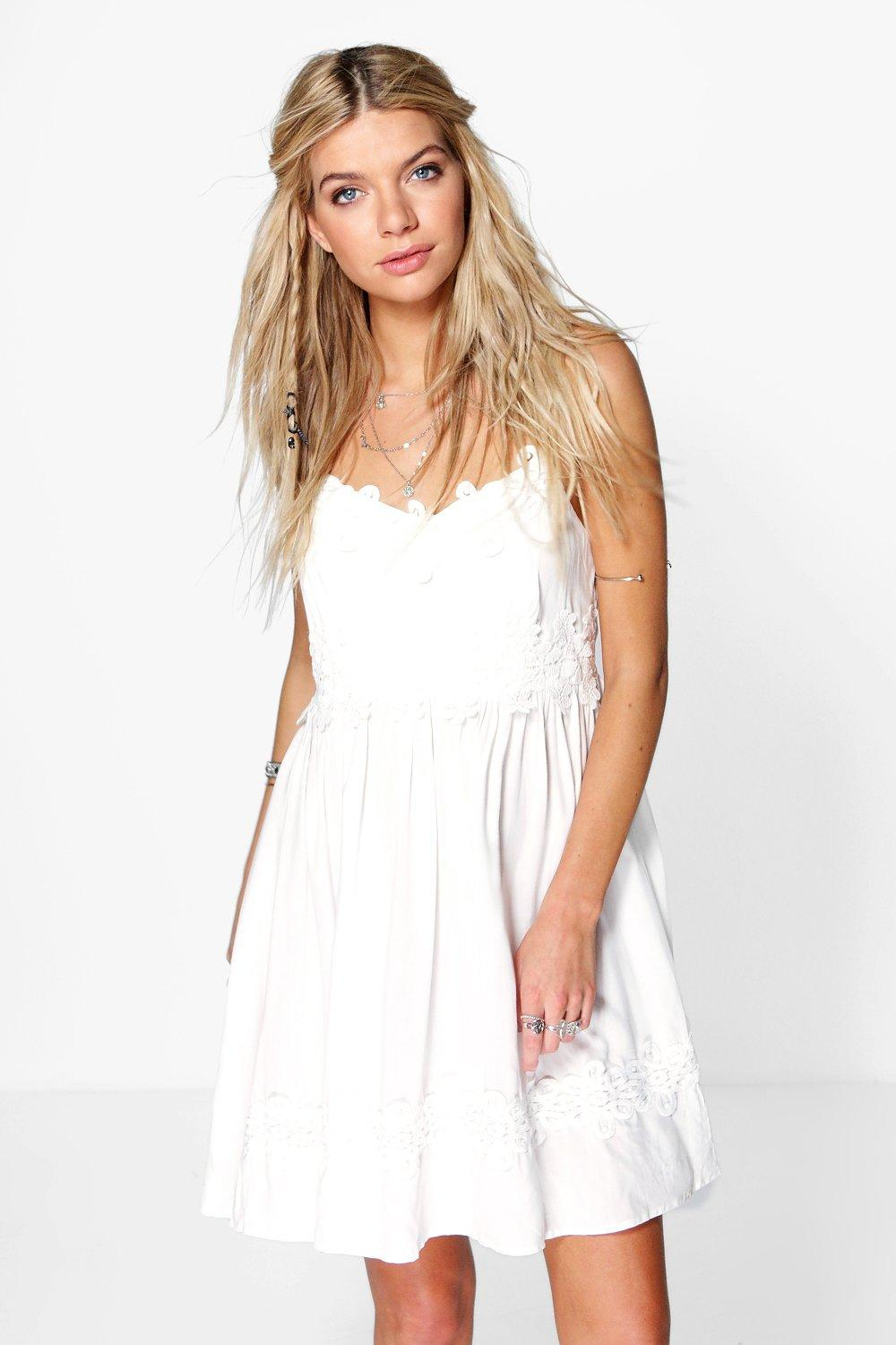 Rose Crochet And Lace Trim Skater Dress