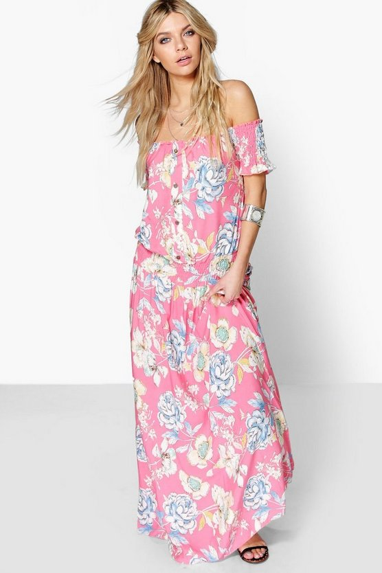 Ella Off The Shoulder Woven Maxi Dress