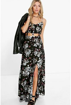 Elida Floral Cut Out Button Front Maxi Dress