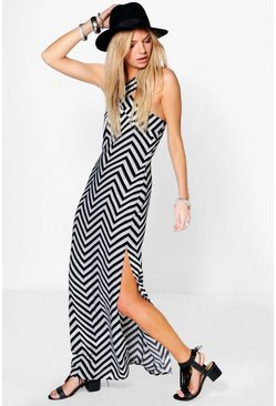 Anita Zig- Zag Monochrome Maxi Dress