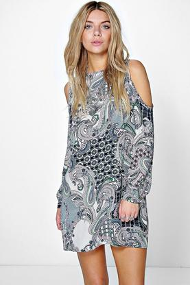 Izzy Paisley Open Shoulder Shift Dress