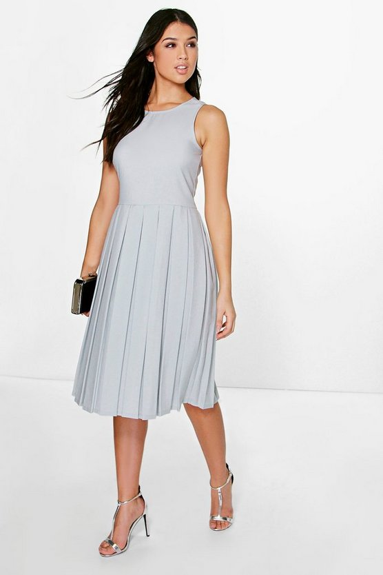 Silvia Sleeveless Pleat Detail Midi Dress