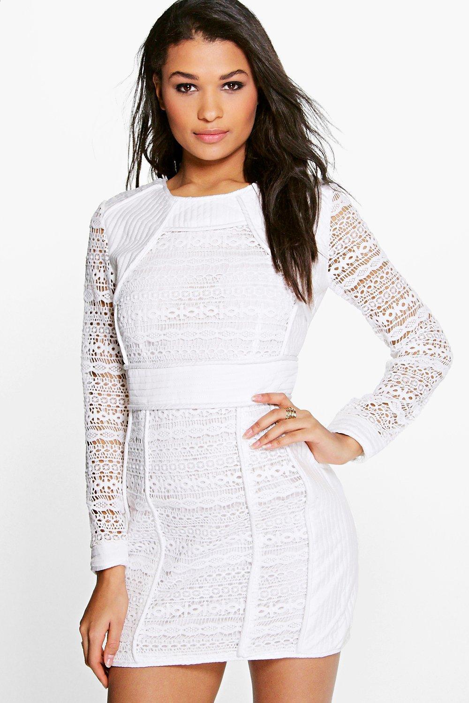 Naya Crochet Structured Dress white