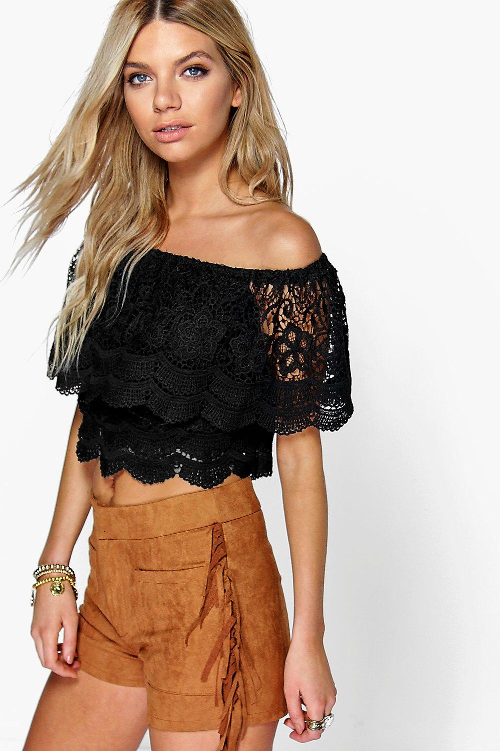 Tia Crochet Lace Frill Off The Shoulder Top