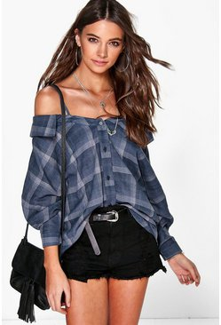 Emily Check Open Shoulder Shirt